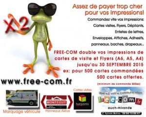 Carte de visite et Flyers jusqu'en Septembre c'est X2 chez FreeCom